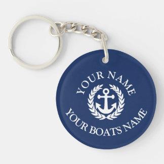 Seeanker des kundenspezifischen Bootsnamens Schlüsselanhänger
