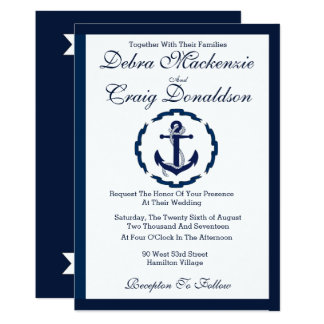 Seeanker-Fahne - Hochzeits-Einladung Karte