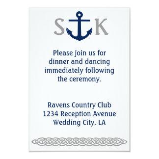 Seeanker-Hochzeits-Einladungs-Einschließungs-Grau 8,9 X 12,7 Cm Einladungskarte