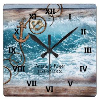 Seeanker-Hochzeits-Uhr Quadratische Wanduhr