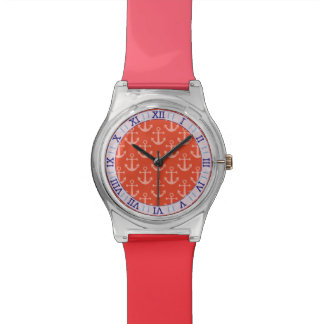 Seeanker im korallenroten rosa hübschen Muster Uhr