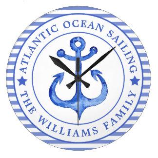 Seeanker-Marine-Blau personalisiert Große Wanduhr