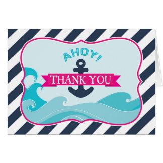 Seeanker-Ozean-Wellen-Pink dankt Ihnen Karte