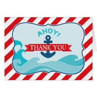 Seeanker-Ozean-Wellen-roter Streifen danken Ihnen Karte