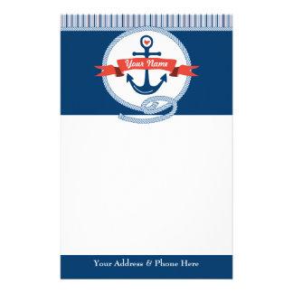 Seeanker-Seil-Band Stripes rotes weißes Blau Briefpapier
