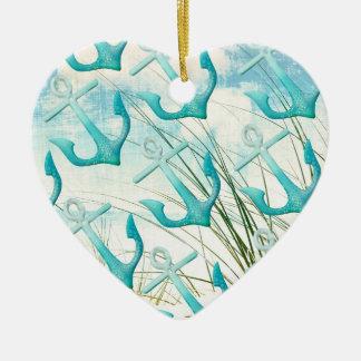 Seeanker-Strand-Ozean-Küsten-Küstenthema Keramik Herz-Ornament