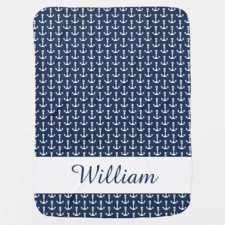 Seebaby-Decke in Blauem und in weißem Baby-Decke