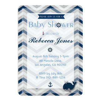 Seebaby-Duschen-Einladungs-Jungen-blaues Zickzack Karte