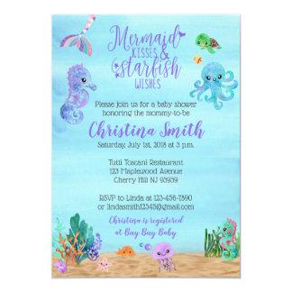 SeeBabyparty-Einladungen für eine Meerjungfrau des Karte