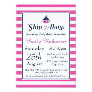 SeeBabyparty-Einladungs-Mädchen, Schiff ahoi! 12,7 X 17,8 Cm Einladungskarte
