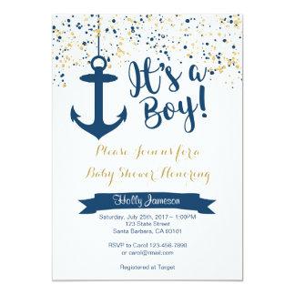 SeeBabyparty-Einladungs-Marine und Gold 12,7 X 17,8 Cm Einladungskarte