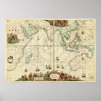 Seediagramm 1690 von Dutch East India Company Poster