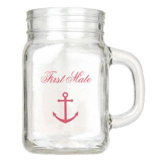Seeerster Kamerad-Maurer-Glas-Tasse mit Anker Einmachglas