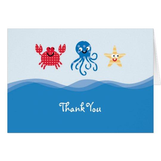 Seegeschöpfe danken Ihnen zu kardieren Karte