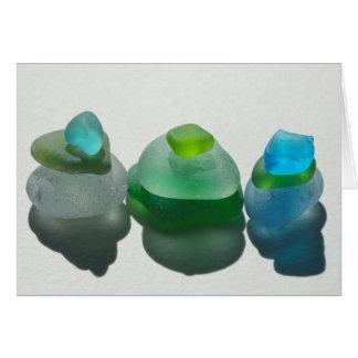 Seeglas, Strandglas, Blau, Grün, Aqua, leer Karte