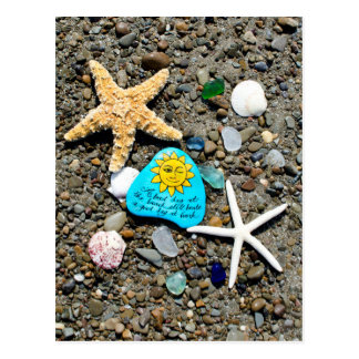 Seeglas, Strandglaskunstmalerei-Spaßpostkarte Postkarte