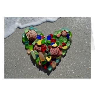Seeglas, Strandglasregenbogen-Herzfreier raum Karte