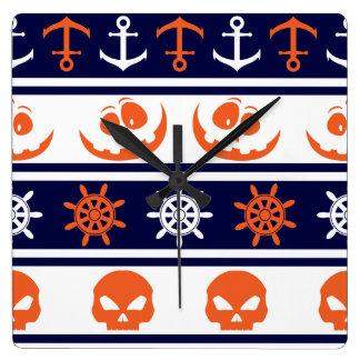 Seehalloween-Muster Quadratische Wanduhr