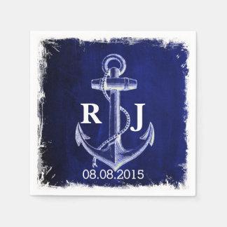 Seehochzeit des rustikalen Marine-Blauankers Papierservietten