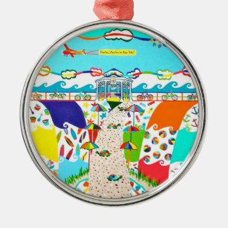 Seeinsel-Stadt, NJ erstklassige runde Verzierung Rundes Silberfarbenes Ornament