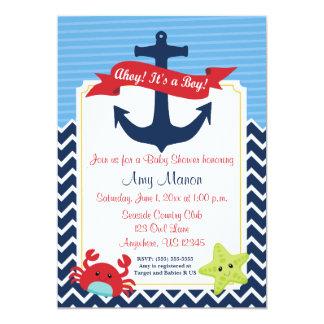 Seejungen-Baby-Duschen-personalisierte Einladung