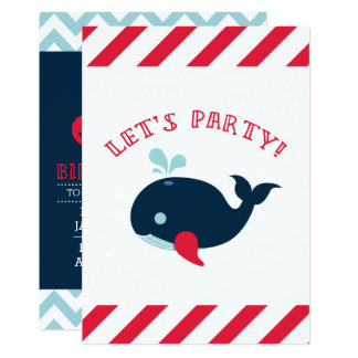 Seejungen-Geburtstags-Einladung, Wal Karte