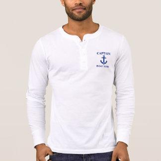 Seekapitän Boat Name Anchor Star Henley T-Shirt