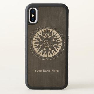 Seekompaß auf schwarzer Tafel iPhone X Hülle