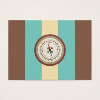 Seekompaß auf Vintagem Retro blauem Sahnebrown Visitenkarte