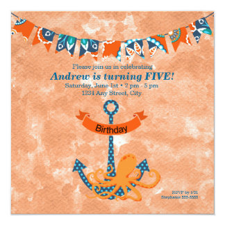 Seekraken-Sommerzeit-Kindergeburtstag-Party Quadratische 13,3 Cm Einladungskarte
