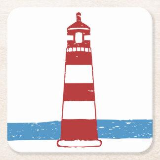 Seeleuchtturm rot und weiße Streifen, Wedding Kartonuntersetzer Quadrat