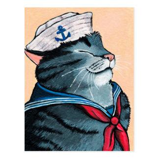 Seemann-Katzeseetabby-Katzen-Malerei Postkarte
