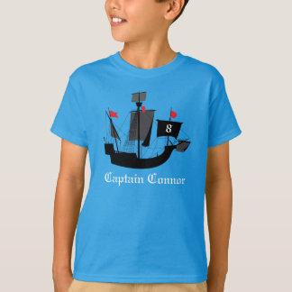 Seemann-Piraten-Jungen-Geburtstags-T-Shirt Blau T-Shirt