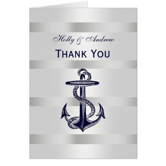 Seemarine-Blau-Anker-Silber weißes V danken Ihnen Karte