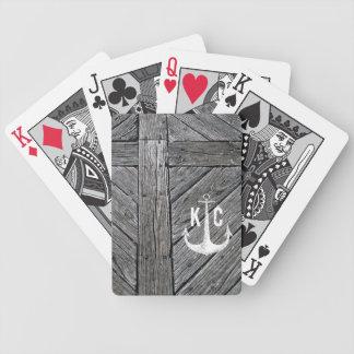 Seemonogramm des rustikalen hölzernen Vintagen Bicycle Spielkarten
