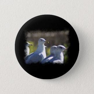 Seemöwe auf einer Schiene Runder Button 5,1 Cm