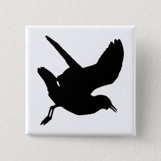 Seemöwe-Silhouette Quadratischer Button 5,1 Cm
