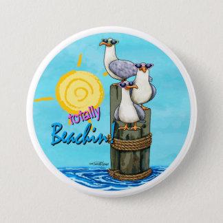 Seemöwen total beachin Knopf Runder Button 7,6 Cm