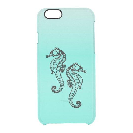 Seepferd-Aqua Durchsichtige iPhone 6/6S Hülle