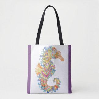 Seepferd feiert Karnevals-Tasche - im Veilchen Tasche