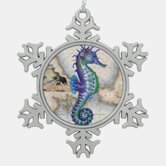 Seepferd-Karte Gibraltar Schneeflocken Zinn-Ornament