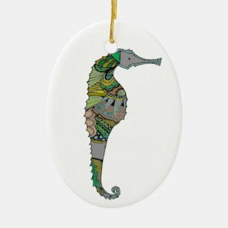 Seepferd Ovales Keramik Ornament