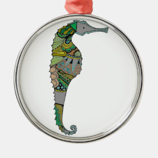 Seepferd Rundes Silberfarbenes Ornament