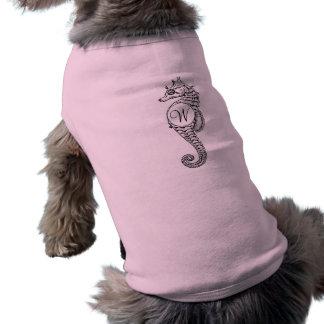 Seepferd-Skizze abgezeichnetes Hündchen-Shirt Ärmelfreies Hunde-Shirt