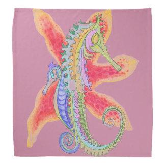 Seepferd- und Starfishbandanna Kopftuch