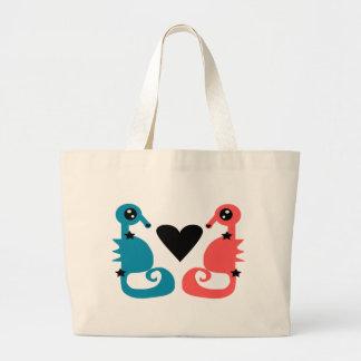Seepferde in der Liebe Jumbo Stoffbeutel