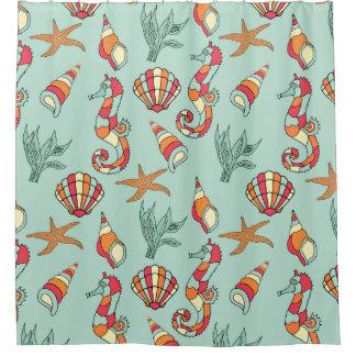 Seepferde und Seashells Duschvorhang