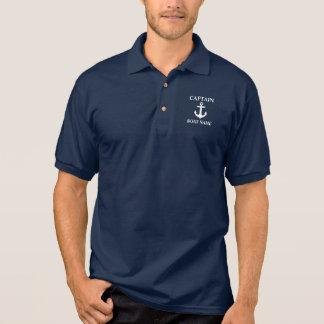 Seepolo kapitän-Boat Name Anchor Blue Poloshirt