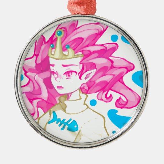 Seeprinzessin Rundes Silberfarbenes Ornament