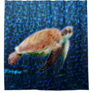 Seeschildkröte-Fraktal-Kunst Duschvorhang